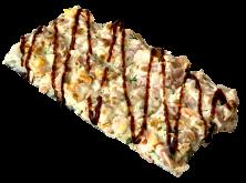 Суши-пицца с курицей и беконом